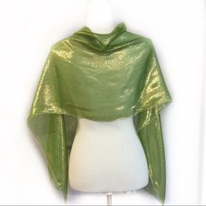 Accessories - New Olive green Scarf Long Silk Gold metallic tint